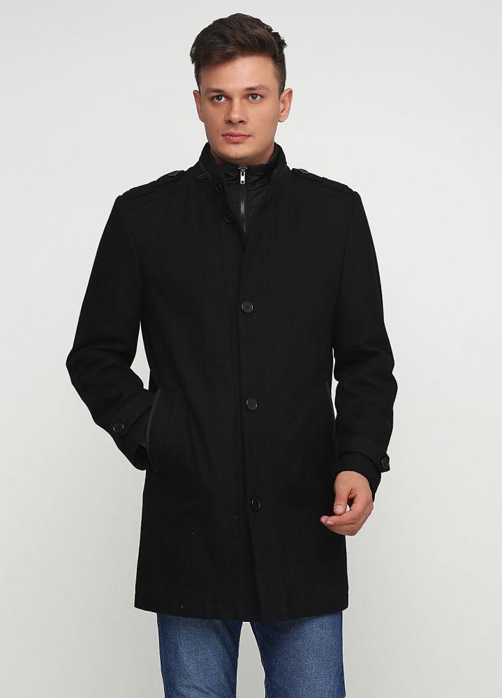 Пальто мужское Bexleys черное с молнией на воротнике