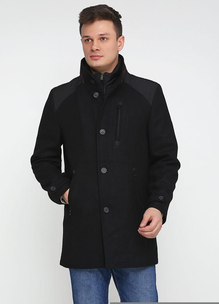 Пальто мужское Kaiser черное с серыми вставками на плечах