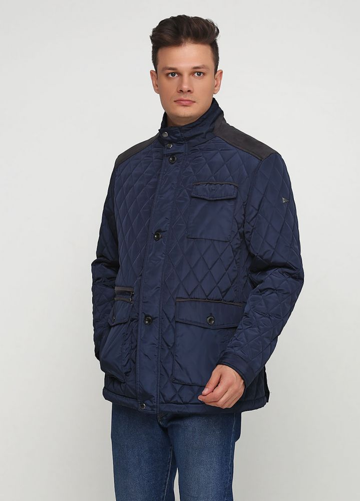 Курточка мужская демисезонная Paul R.Smith темно-синяя (плечи - замш)