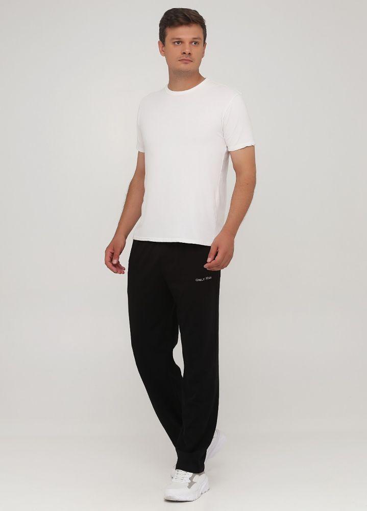 Брюки прямые летние Only Man черные с серебристой вышивкой (высокий рост)