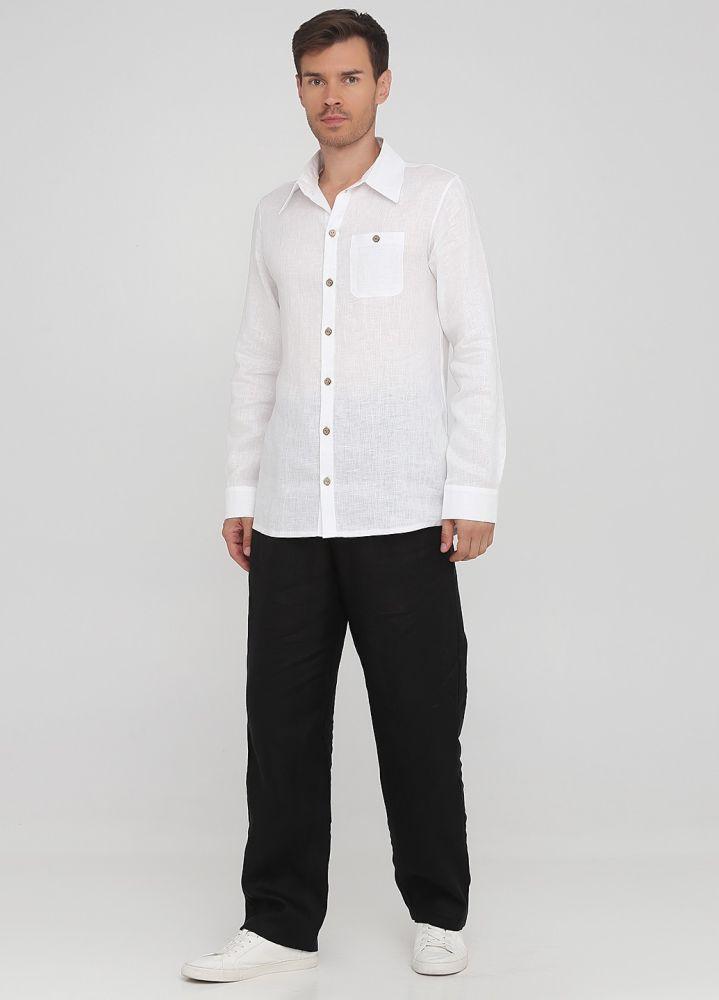 Брюки мужские летние Only Man прямые черные из льна (высокий рост)