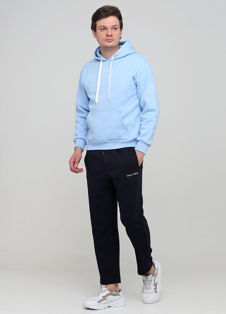 Брюки мужские зимние Only Man прямые темно-синие со шнурком (низкий рост)
