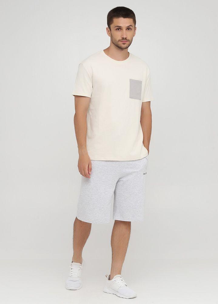 Шорты мужские летние Only Man светло-серые с черной вышивкой возле кармана