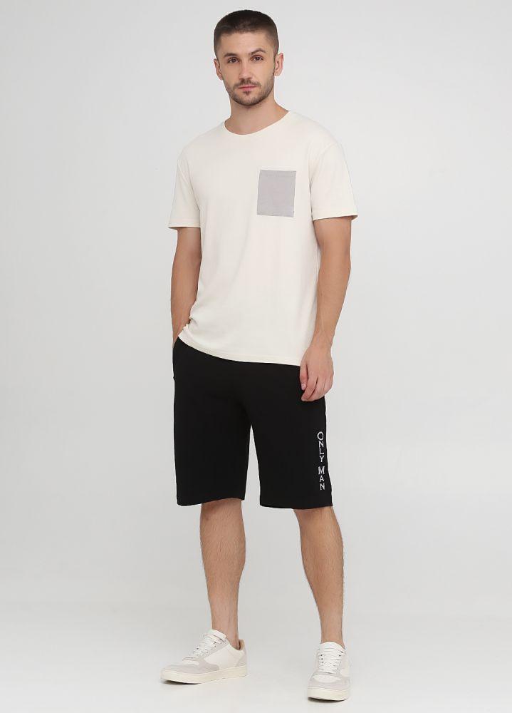 Шорты мужские летние черные удлиненные Only Man с большой светло-серой вышивкой внизу