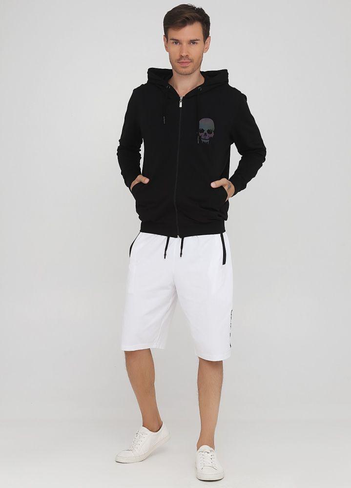Шорты летние Only Man белые с большой черной вышивкой впереди и черными карманами