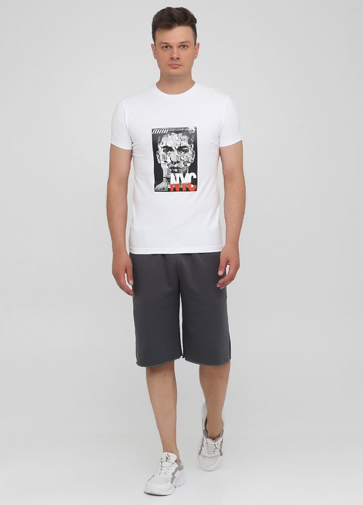 Шорты графитовые Only Man со светло-серым лого впереди под карманом