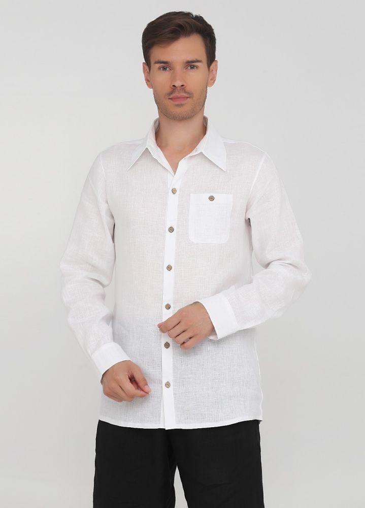 Рубашка мужская Only Man белая из льна с пуговицами из бамбука