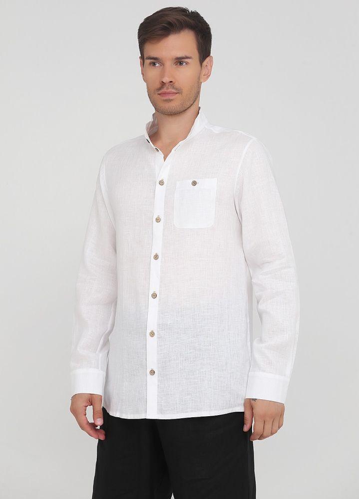Рубашка мужская Only Man белая из льна с пуговицами из бамбука и воротником стойкой