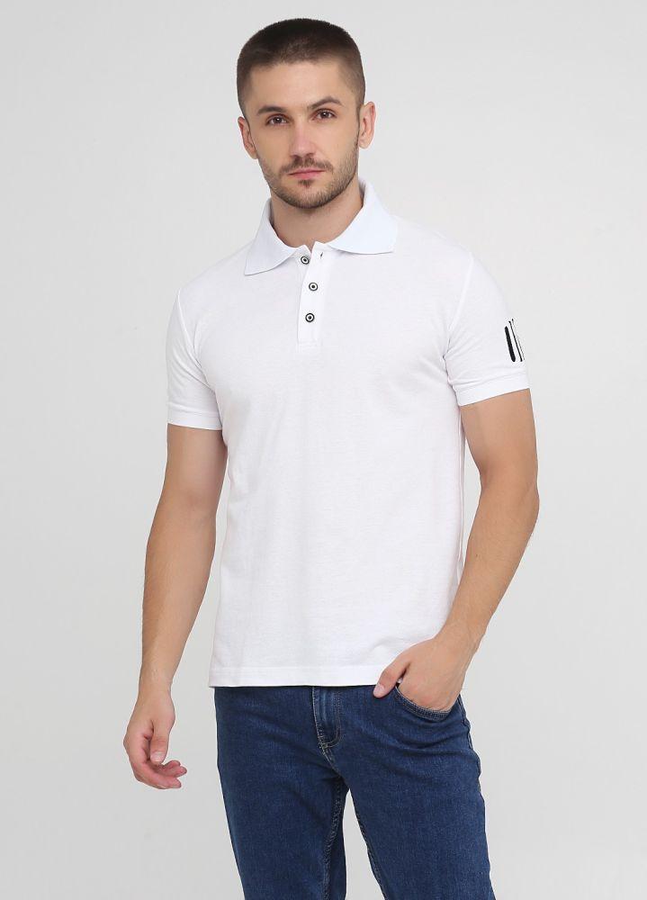 Футболка-поло мужская белая Only Man с черным лого на рукаве