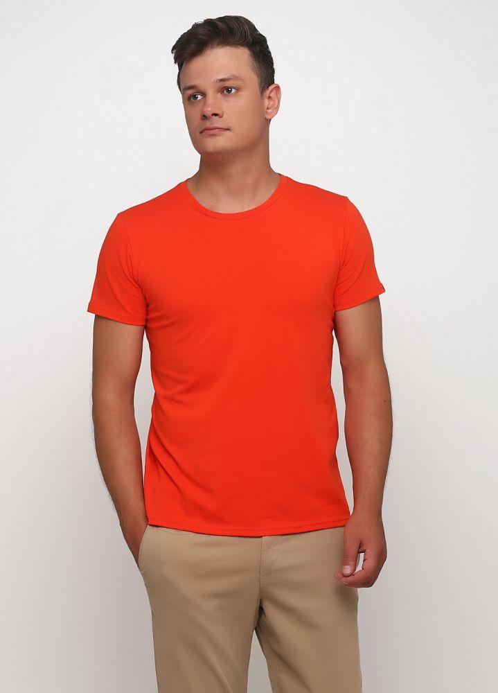 Футболка мужская оранжевая Only Man с мал. оранж. лого сзади