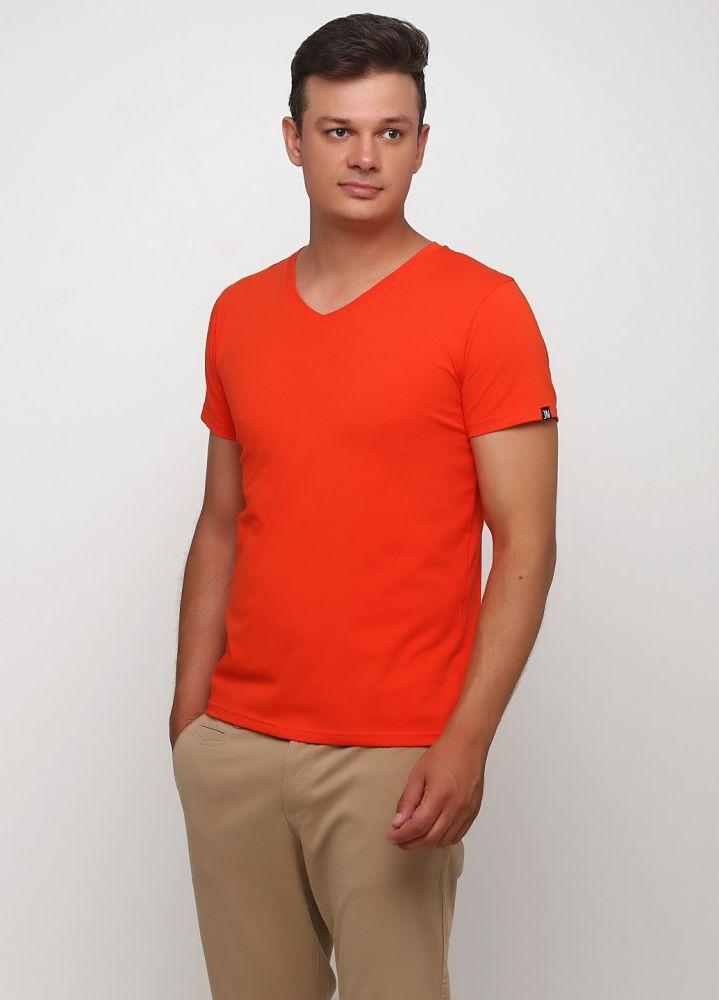 Футболка мужская Only Man V-образ. оранжевая с мал. оранж. лого сзади