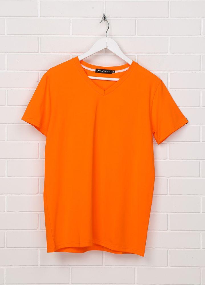"""Оранжевая футболка """"Only Man"""" V с серебристым лого сзади"""