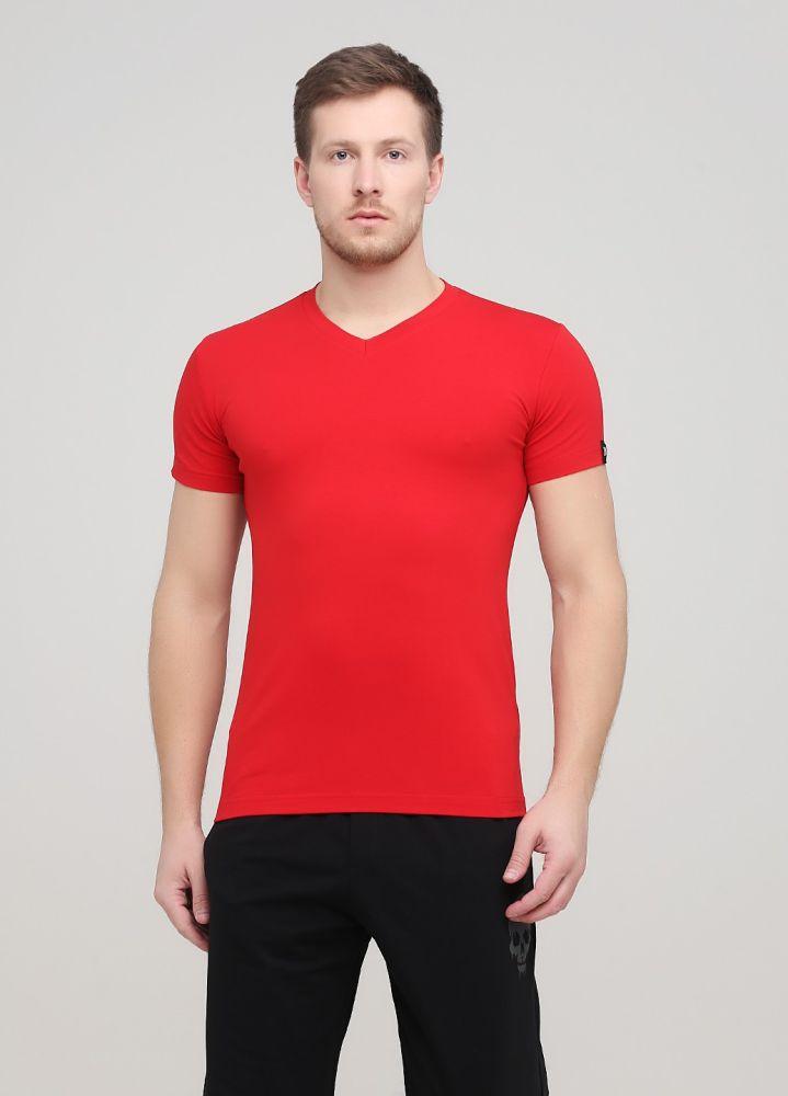 Футболка мужская красная Only Man с V-образным вырезом и с красным лого сзади