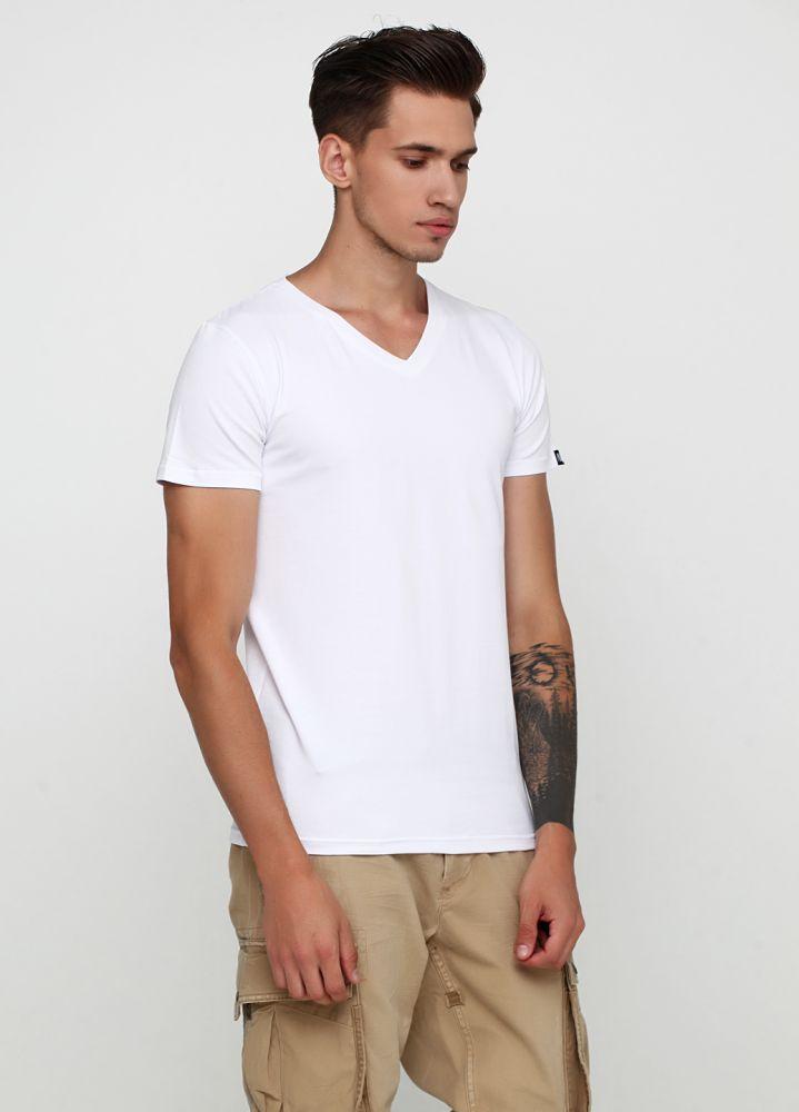 Белая футболка мужская белая Only Man V-образ с маленьким белым логотипом сзади