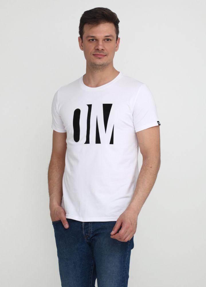 Футболка мужская белая Only Man с большим черным лого впереди