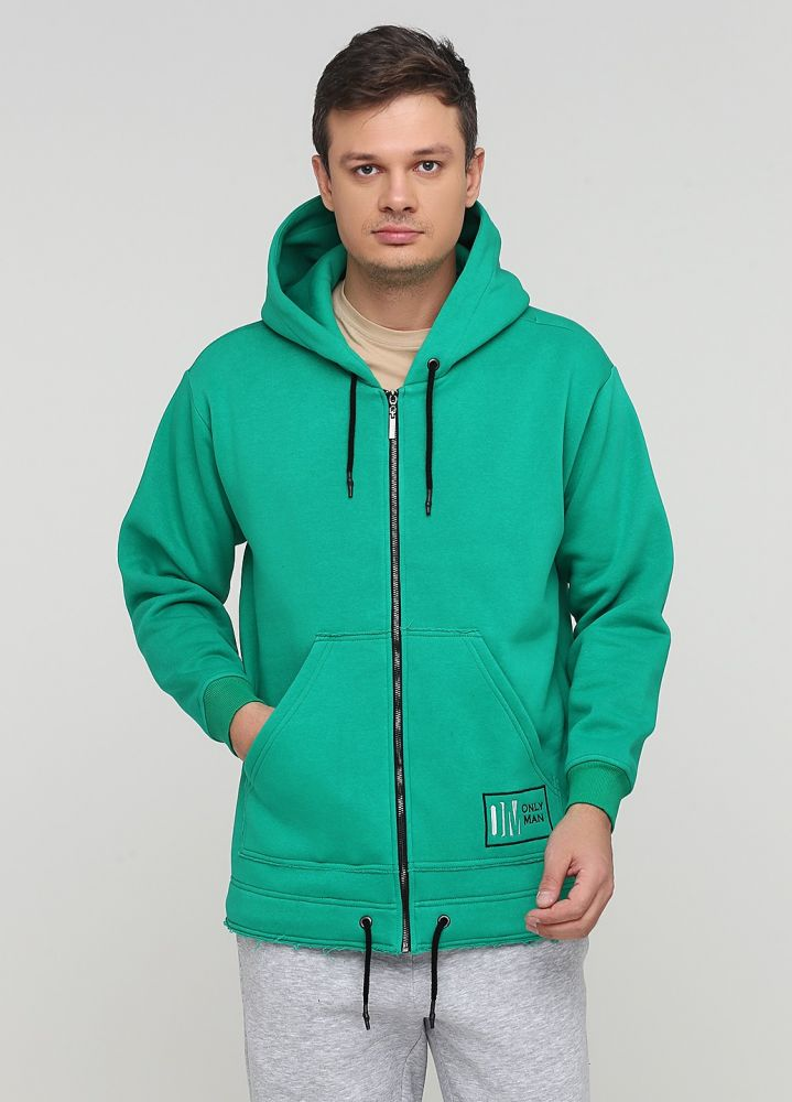 "Толстовка мужская зимняя ""Only Man"" зелёная с шевроном внизу"